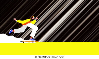 Animation of a person riding on a skateboard with white light trails moving in fast motion