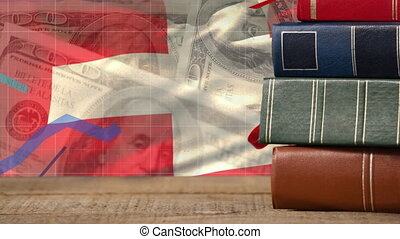 Animation of a pile of books and the Swiss flag on dollars...