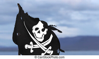 Animation of a pirate flag HD