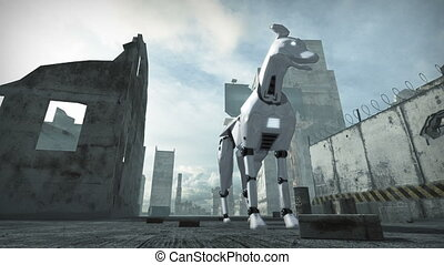 Animation of a robot dog in ruined city. 3D rendering