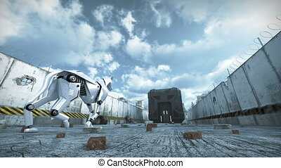 Animation of a robot dog walking in barbed wire city. 3D rendering