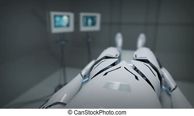 Animation of a robot watching screens