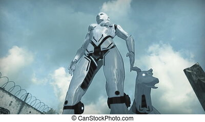 Animation of a robot woman and dog in apocalyptic city. 3D rendering