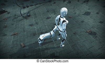 Animation of a robot woman and robot dog in ruined city. -...