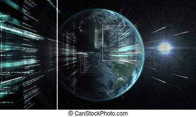 Animation of a rotating globe over information scorlling and...