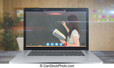 Animation of a screen showing a teacher during a video online school lesson. Coronavirus spreading