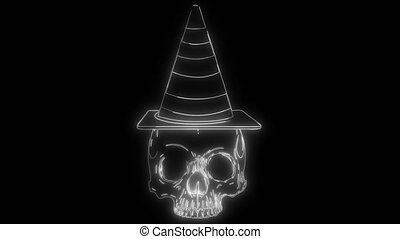 paper sticker Halloween icon witch hat with skull
