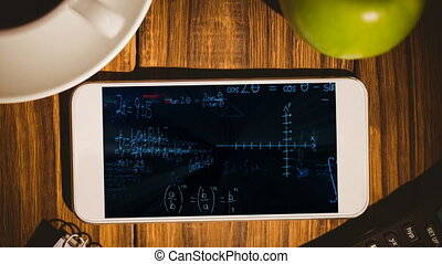 Animation of a smartphone showing mathematics equations on the screen.