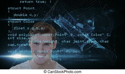 Animation of a smiling Caucasian man with digital data and ...