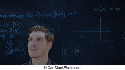 Animation of a smiling Caucasian man with mathematics formulae floating in foreground