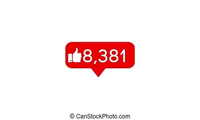 Animation of a social media likes counter which quickly...