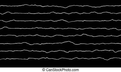 Animation of a sound signal, white waves equalizer on black background