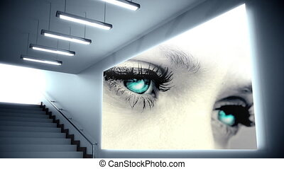 Animation of a staircase with a big screen showing blue eyes of a Caucasian woman