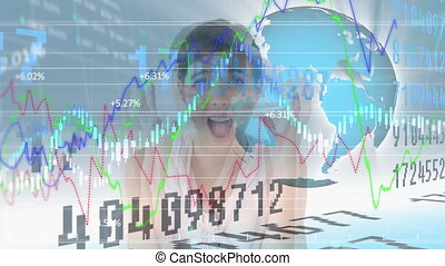 Animation of a stock market display statistics showing over woman holding head, globe spinning.