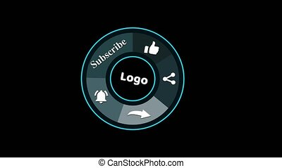 Animation of a Subscribe and Likes and Notification Button of social media icon on the black screen
