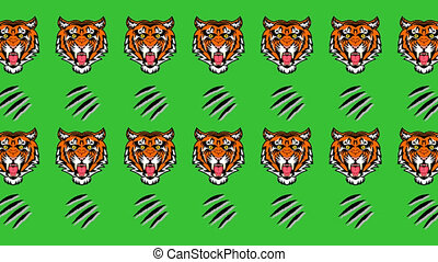 Animation of a tiger and sharp claws on a green background -...
