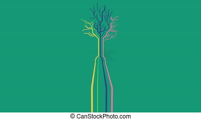 Animation of a tree made of neon, yellow, blue and pink lines on green background.