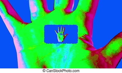 """""""Animation of a tunnel in a colorful human hand"""" - """"An opt..."""