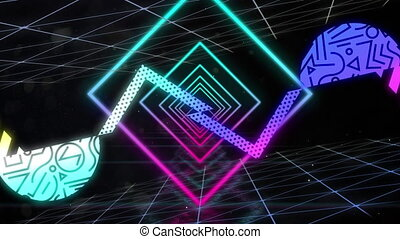Animation of a tunnel of glowing geometric triangle moving with red and neon abstract shapes on blac