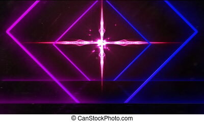 Animation of a tunnel of neon glowing bright geometric diamond with glowing cross in the background