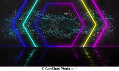 Animation of a tunnel of neon glowing geometric hexagon moving with glowing cross in the background