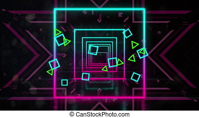Animation of a tunnel of neon glowing geometric square with pink stars moving in repetition on black