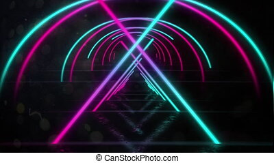 Animation of a tunnel of neon glowing geometric triangle and moving on black background