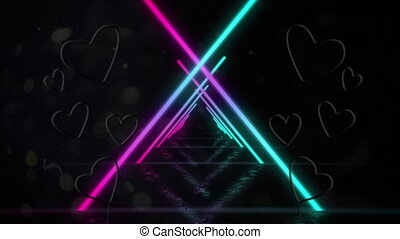 Animation of a tunnel of neon glowing geometric triangle moving in seamless loop with red and pink