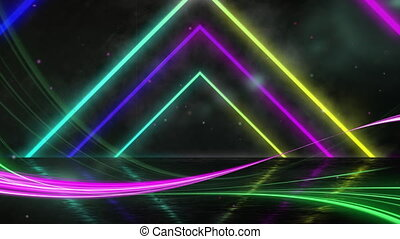 Animation of a tunnel of neon glowing geometric triangle moving on black background