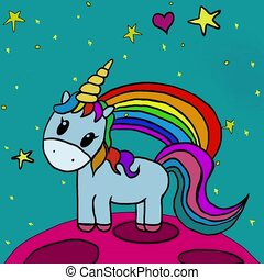 Animation of a unicorn with a rainbow and shooting stars. Cute unicorn in space on a pink planet. Motion free fall in space. Cartoon video