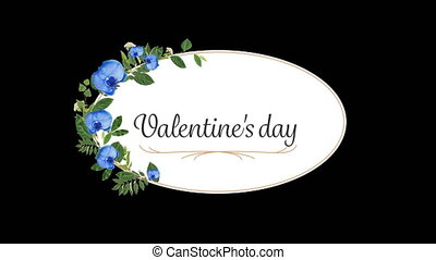 Animation of a valentine day card with flowers