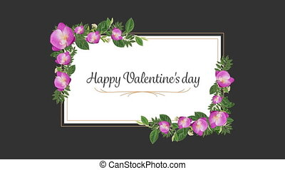 Animation of a valentines day card with flowers