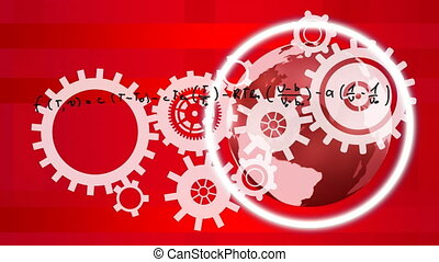 Animation  of a white gears over scientific formulas on red background