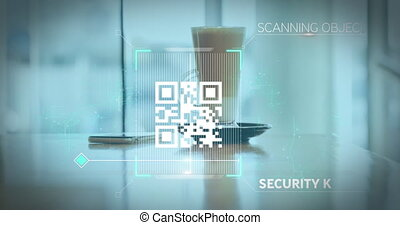 Animation of a white QR code scanning over a cup of caffe latte standing