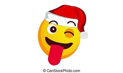 Animation of a winking and showing it's tongue yellow emoji in santa claus christmas hat isolated on white background. Positive emotions concept. Winter holidays emoticon. Alpha channel