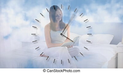 Animation of a woman sitting on a bed over a clock ticking ...
