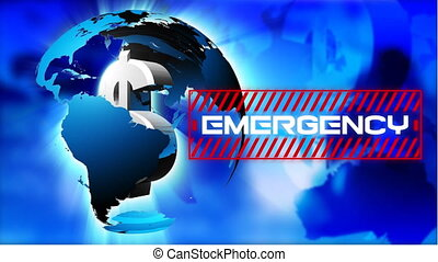 Animation of a word Emergency in red frame over a globe spinning with American dollar sign in it.