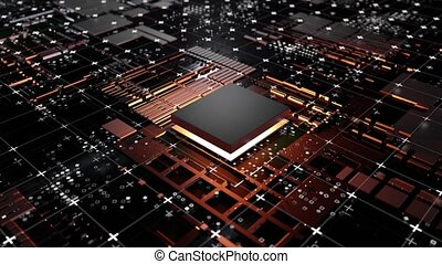 Animation of Abstract Central Computer Processors Concept. Conceptual CPU on circuit board - PCB. Seamless looped 4k