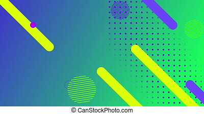 Animation of abstract shapes moving against green background