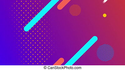 Animation of abstract shapes moving against purple background
