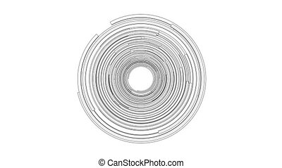 Animation of abstract technological circles. Outline or blueprint style. 3D illustration