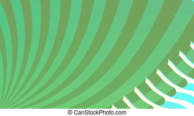 Animation of abstract waving lines over rotating green stripes moving in seamless loop