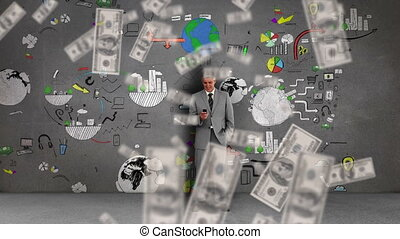 Animation of American dollar bills falling over a man using ...