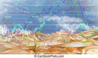 Animation of American dollar coins stock over market display...