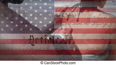 Animation of American flag waving constitution text on mixed race woman by seaside on summer holiday, her partner putting sunscreen on her back. American society diversity concept digital composition.