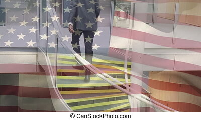 Animation of American flag waving over African American ...