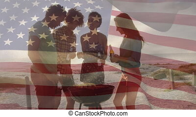 Animation of American flag waving over multi ethnic group of...