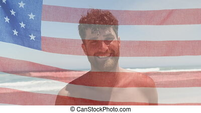 Animation of American flag waving over portrait of happy ...