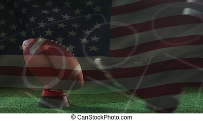 Animation of American football player with American flag in the background