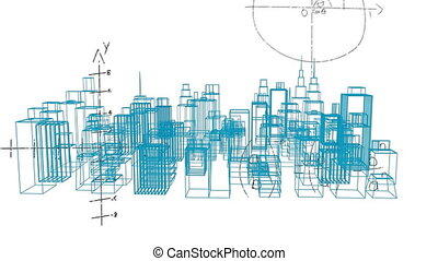 Animation of an architecture buildings plan rotating and mathematical formulae floating above